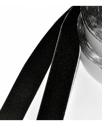Fita de velcro autocolante preta 20 mm largura (ao metro)