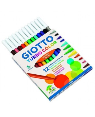 Canetas de feltro Giotto Turbo Color - 12 unidades