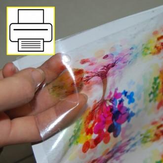 Vinil Transparente autocolante para impressoras a jato de tinta - 10 folhas