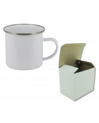 Caneca em Metal 10 Oz branca e Bordo Cromado para Sublimação c/ caixa individual
