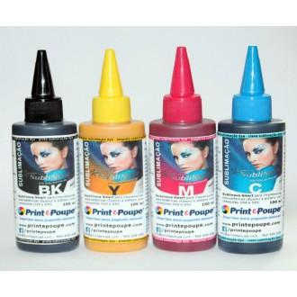 Conjunto de Tintas para SUBLIMAÇÃO p/ Epson 4 cores, (Preto, Magenta, Amarelo e Ciano) - 4 x 100 ml