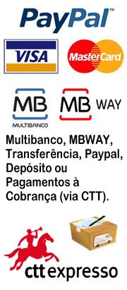 Diversas forma de pagamento. Envios por CTT e CTT Expresso